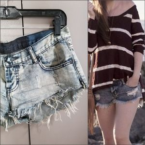 One Teaspoon distressed denim short